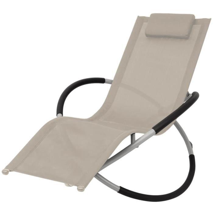 vidaXL Chaise longue géométrique d'extérieur Acier Crème
