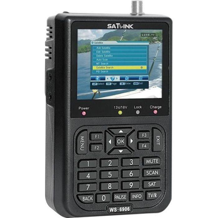 Satellite Finder SATLINK WS6906 3.5 pouces écran LCD couleur Portable Digital Meter Noir