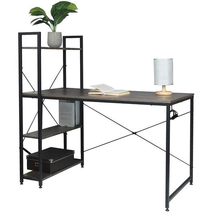 WOLTU Table de bureau en Bois et acier, Bureau d'ordinateur avec étagère de Rangement 120x64x120 cm, Noir+Rouille