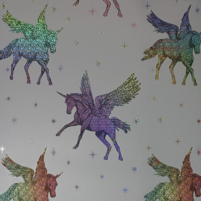 Arthouse Licorne Feuille Holographique Papier Peint Gris Clair Multi 294801
