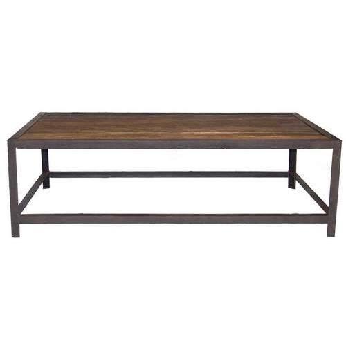 Table Basse Industrielle Metal Et Bois Bois Fonce