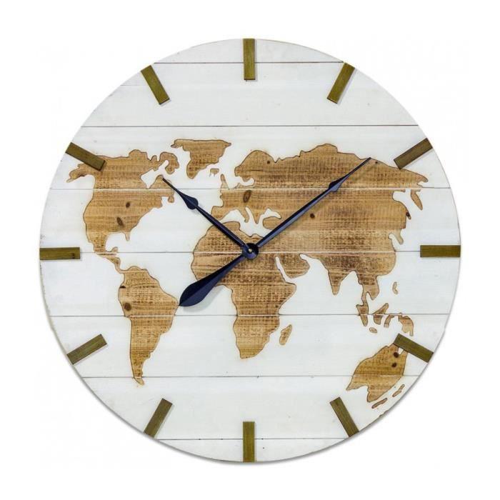 Grande Horloge Murale En Bois Blanc Monde 0000000 Achat