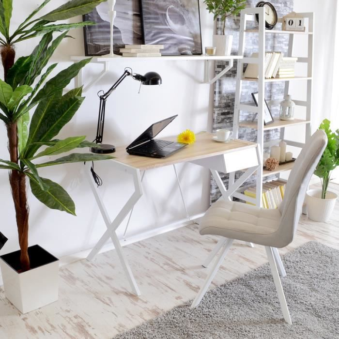 designo blanc bureau minimaliste scandinave avec un tiroir achat vente bureau designo blanc. Black Bedroom Furniture Sets. Home Design Ideas