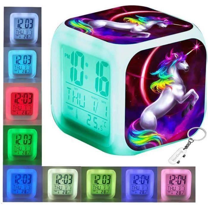 USB et Batterie,Cube en Bois pour Chambre /à Coucher Alfheim R/éveil num/érique en Bois en Bambou LED 12//24Hr Horloge daffichage de Bureau Miroir HD avec Contr/ôle Vocal//Temp/érature