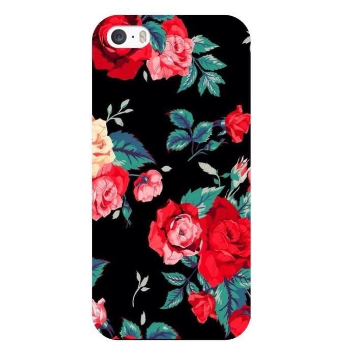 coque iphone 6 plus fleur rose rouge