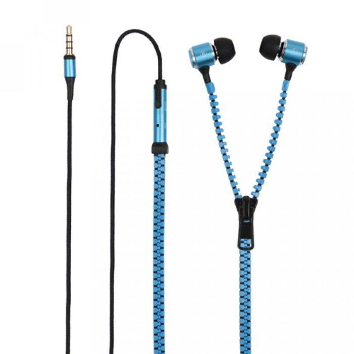 CASQUE - ÉCOUTEURS Ecouteurs intra zip micro bleu jack 3,5mm Muvit…