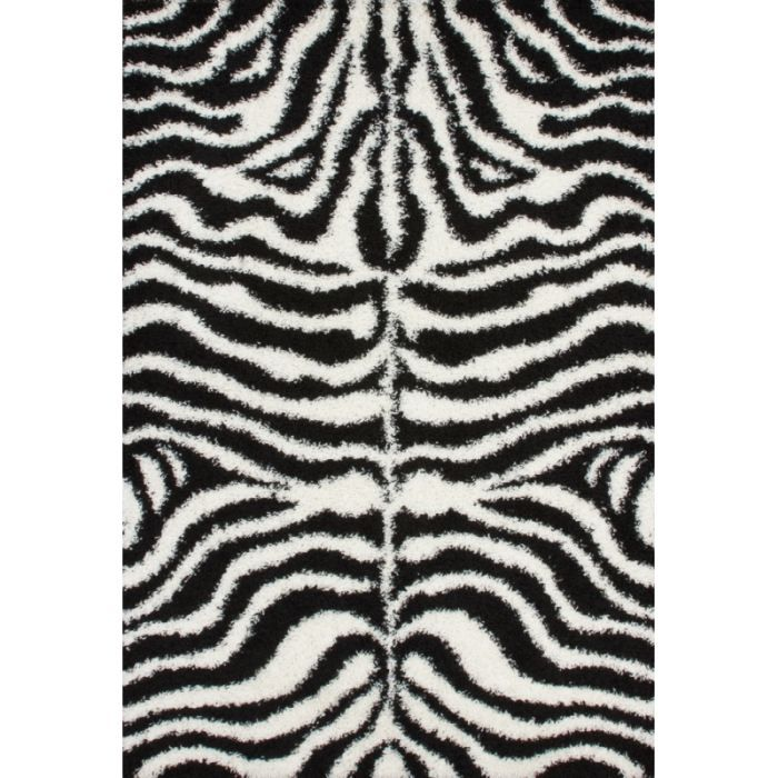 zebre tapis de salon shaggy noir et blanc 80x150 cm. Black Bedroom Furniture Sets. Home Design Ideas