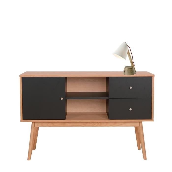buffet laque et bois scandinave skoll couleur noir achat. Black Bedroom Furniture Sets. Home Design Ideas