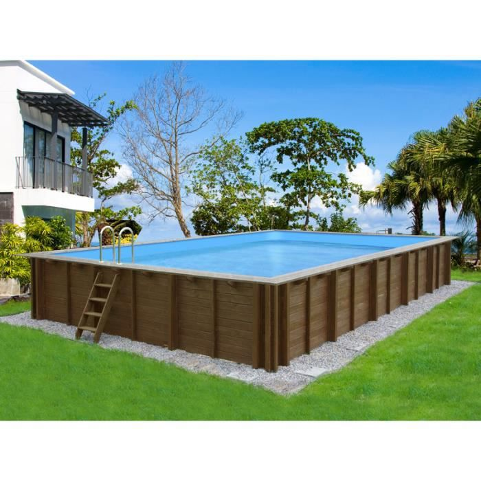 Piscine bois kit rectangle x x m achat vente kit piscine - Piscine semi enterree castorama ...