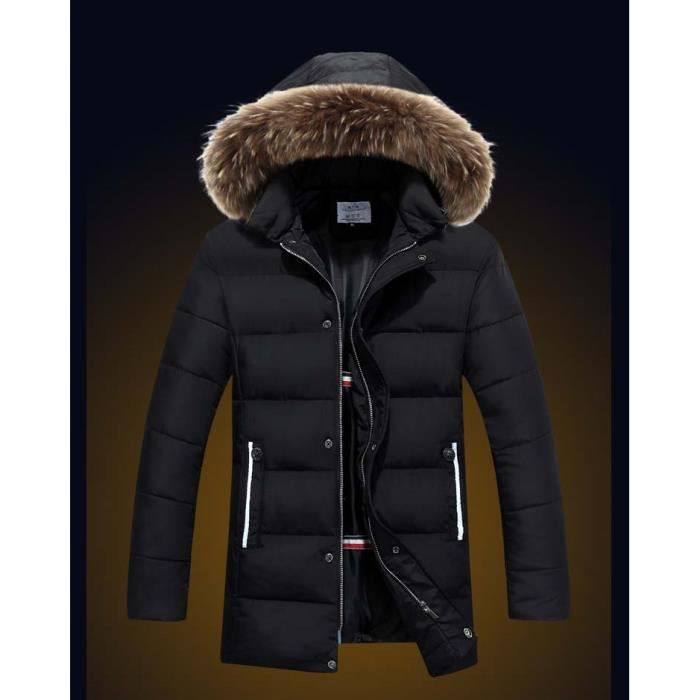 doudoune homme manteau capuche fourrure parka p noir achat vente parka cdiscount. Black Bedroom Furniture Sets. Home Design Ideas