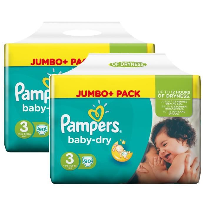 pampers baby dry taille 3 midi 4 9kg jumbo plus pack 180. Black Bedroom Furniture Sets. Home Design Ideas