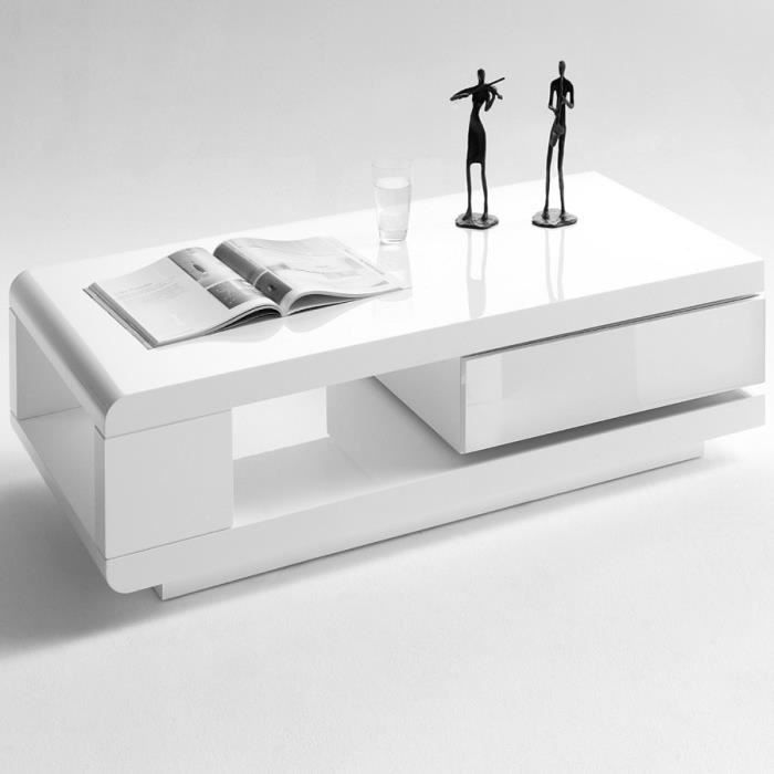 table basse blanche rectangulaire 120x60cm achat vente. Black Bedroom Furniture Sets. Home Design Ideas