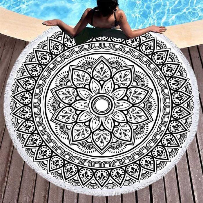 Nappe de plage ronde En coton Mandala rond Tapis de yoga Hippie Boho Zigeuner Tapisserie Mandala indien ronde