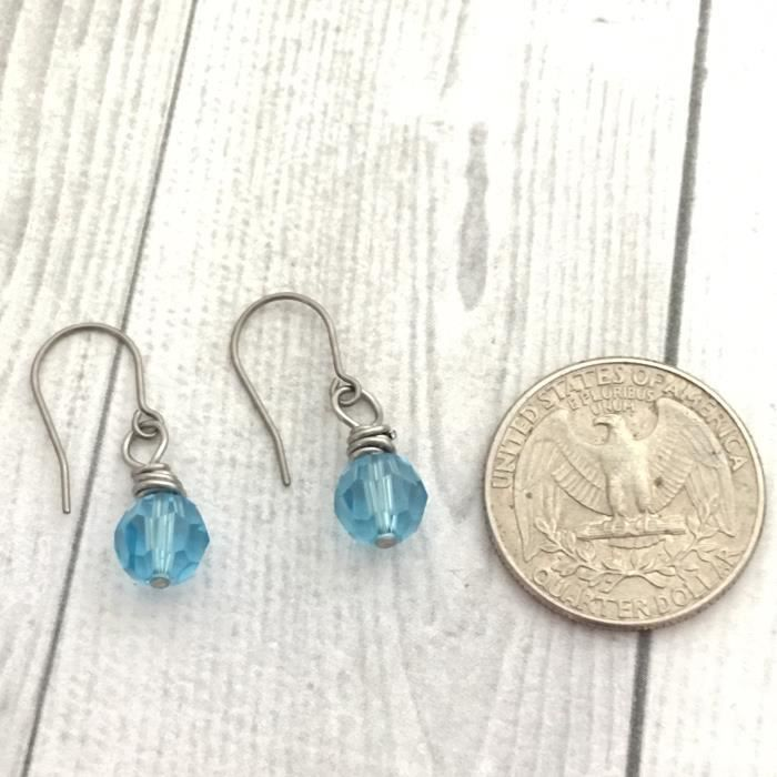 Womens Wire Wrapped Earrings, Aqua Round Swarovski Crystal Elet, Titanium Earwire MO58M