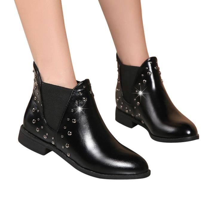 Plat Martin En Bottesnoir Casual Boot Rivets Chaussures Cuir Au Maintien Bottines Chaud Femmes 1qzAwFR1