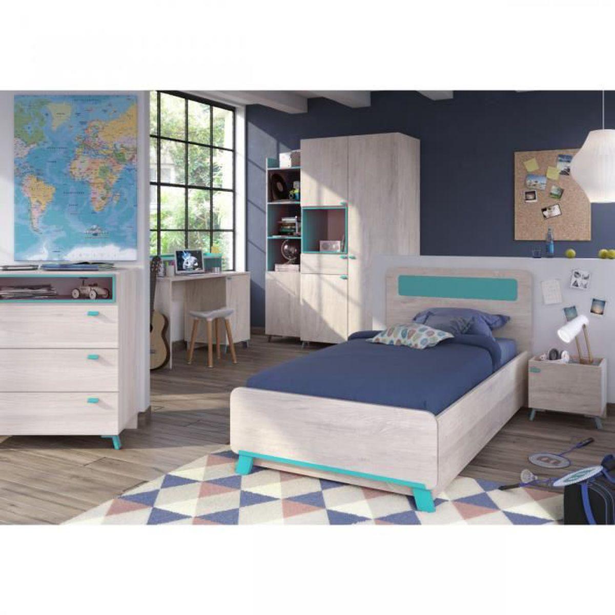 Chambre enfant imitation bois clair et bleu 90x190 CB4007 ...