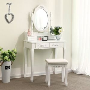 COIFFEUSE LOLOLOO Coiffeuse de Maquillage Table Blanc avec M