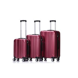 SET DE VALISES LYS - Set de 3 Valises Bordeaux Rigide ABS 4 Roues