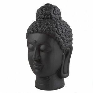 STATUE - STATUETTE Tête De Bouddha Noire - Décoration Asiatique - H.