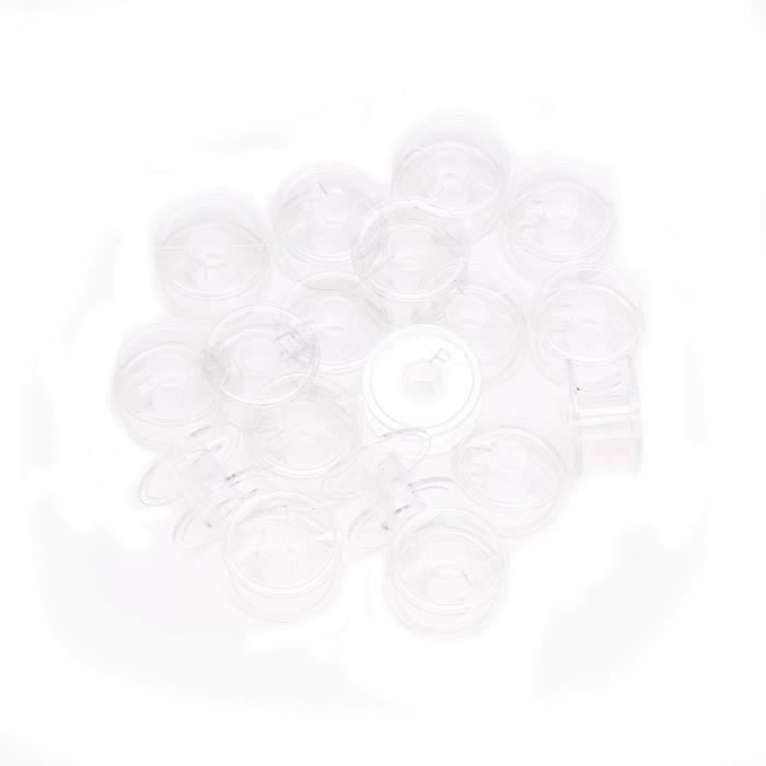 Lots 20pcs en plastique transparent canettes vides pour Brother Janome Singer Machines à coudre Couture d'articles ménagers KIT