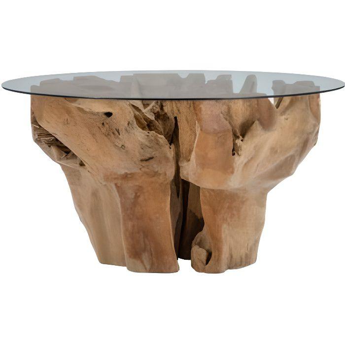 Table à manger ronde bois racine naturel et plateau verre CRISTAL