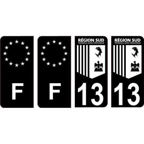 13 Bouche du Rhône Fond Noir autocollant plaque immatriculation auto sticker Lot de 4 Stickers - Angles : arrondis