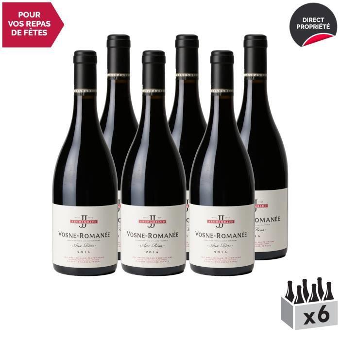 Vosne-Romanée Aux Réas Rouge 2014 - Lot de 6x75cl - J&J Archambaud - Vin AOC Rouge de Bourgogne - Cépage Pinot Noir