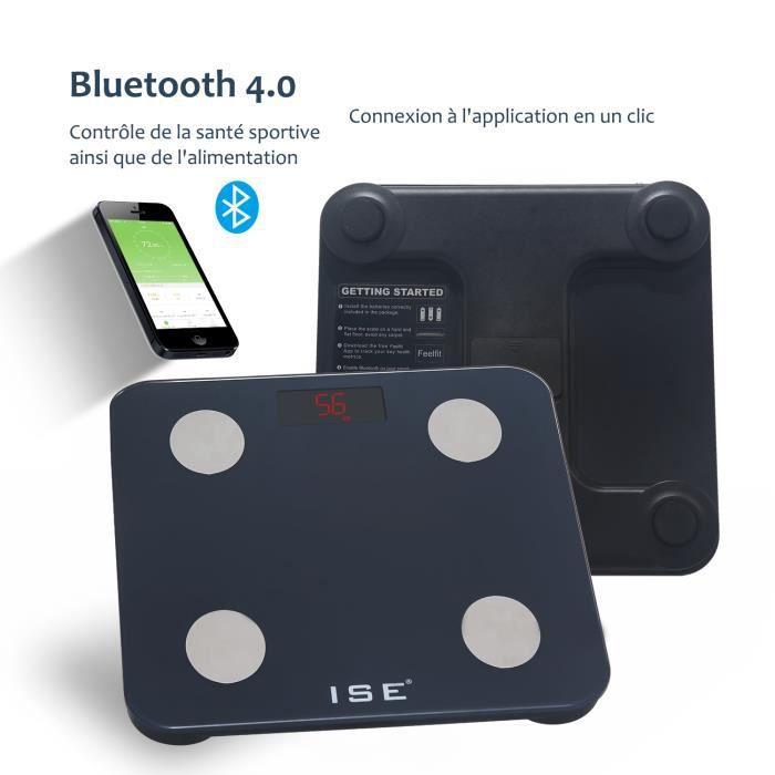 ISE Pèse Personne Impédancemètre IOS Android Bluetooth 180kg avec App Connexion pour mesure du Poids, Graisse, Masse Musculaire