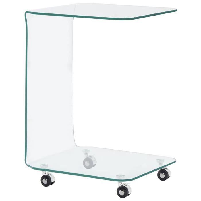 MEUBLE® Table basse Décor - Table de salon Bout de canapé 45 x 40 x 63 cm Verre trempé ♕9246