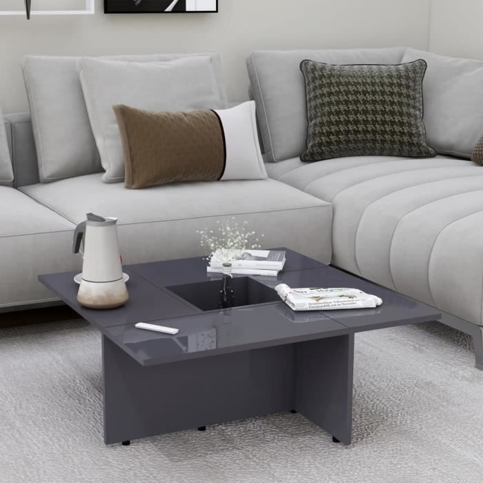 Market-7575Table basse décor design vintage scandinave - Table de salon Bout de canapé Table de thé Table de séjour Gris brillant 79