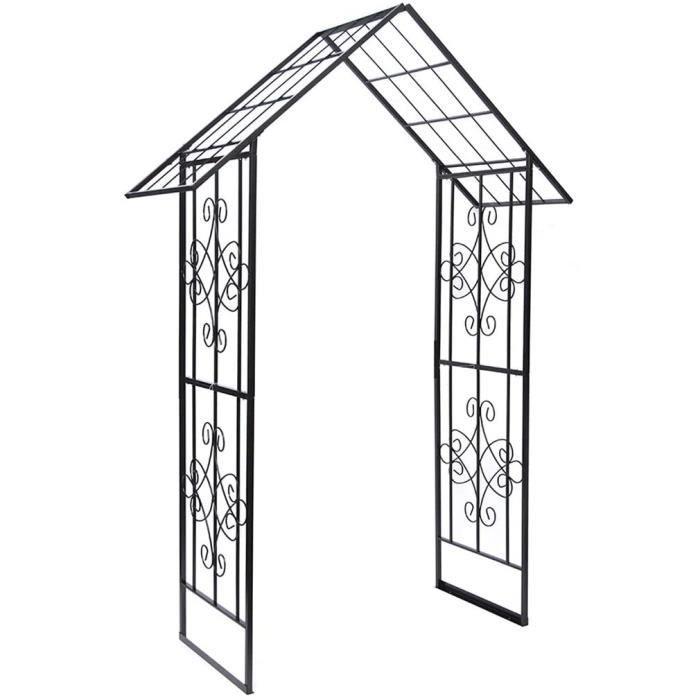 Arche Jardin, Rosier Grimpant, Gloriette Fer Forgé, Résistant aux Intempéries, 113cmx60cmx240cm, Pergola Tonnelle pour Plantes G,454