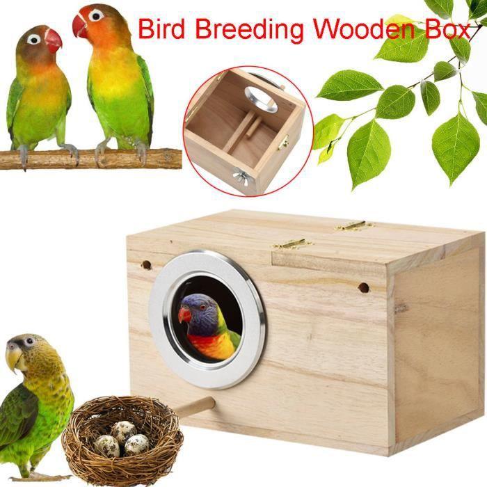Perruche Ne st Box Boîte d'élevage en bois de maison d'oiseau pour l'accouplement de perroquets Lastdaye 86