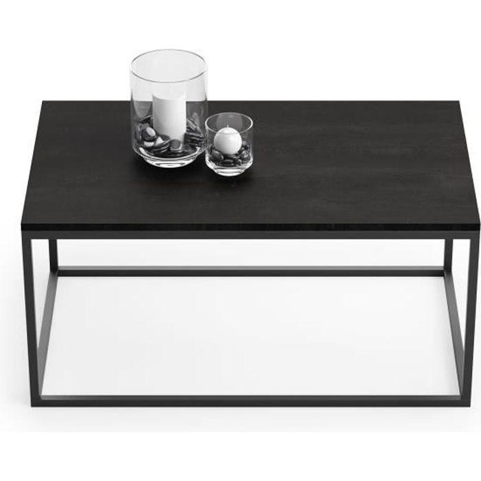 Table basse SOLO design industriel 100x60cm métal, imitation béton noir