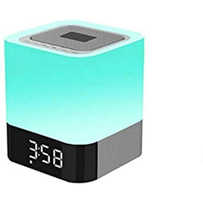 Lampe de Chevet avec Enceinte Haut-Parleur Bluetooth Portable sans Fil avec Contrôle Tactile, Réveil, Lecteur MP3,Lampe de Table Cou