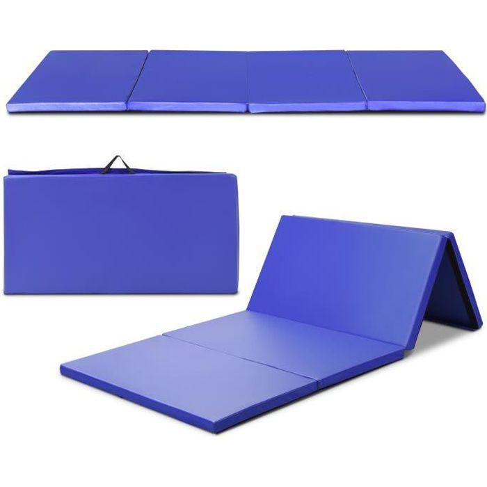 COSTWAY Tapis de Gymnastique Pliable 240 x 120 x 5 cm Matelas de Fitness Portable Natte de Gym pour Fitness,Yoga et Sport Bleu Foncé