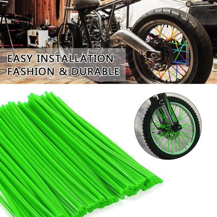36pcs Protecteur de Rayons de Roue Couvre Jantes de Motocross Kit de Couverture de Garde Vert