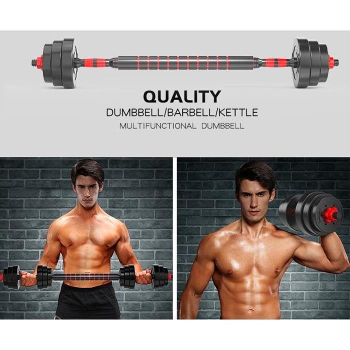 YIS Lot de 2 Kit Haltères Reglable avec Barre D'extension pour Entraînement Musculaire et Haltérophilie - 20 kg