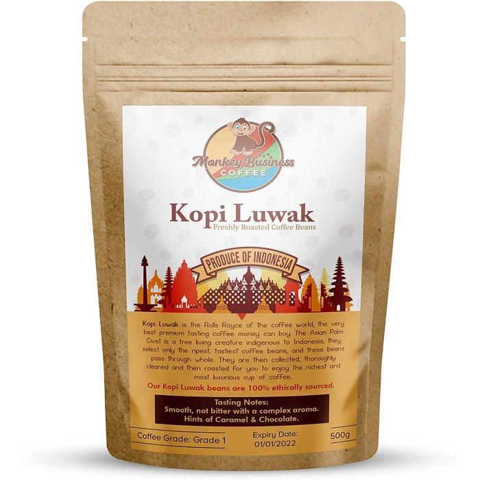 Monkey Business Coffee - Grains De Café Moulus Sauvages Kopi Luwak - 500 Grammes (Autres Poids Et Types De Haricots Disponibles) - D