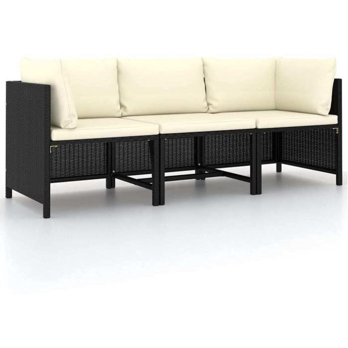 vidaXL Canapé de Jardin à 3 Places avec Coussins Sofa de Terrasse Canapé d'Extérieur Sofa de Jardin Meuble de Terrasse Noir Rési197