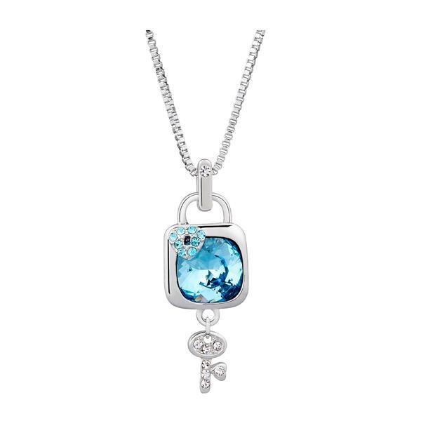 Pendentif Cadenas et clé en Cristal Swarovski Elements Bleu et Plaqué Rhodium