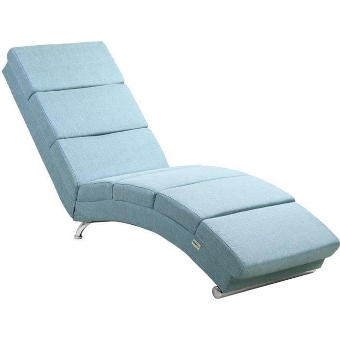Casaria Méridienne « London » Chaise de Relaxation Chaise Longue d'intérieur ergonomique Fauteuil rembourré Bleu pétrole