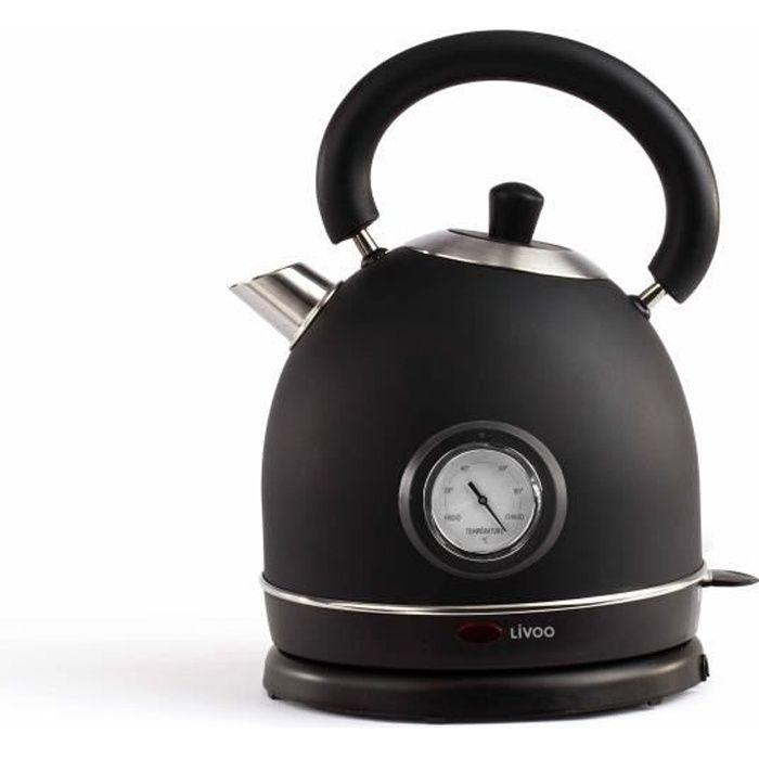 DOMOCLIP  DOD157N Bouilloire rétro avec thermomètre - Noir