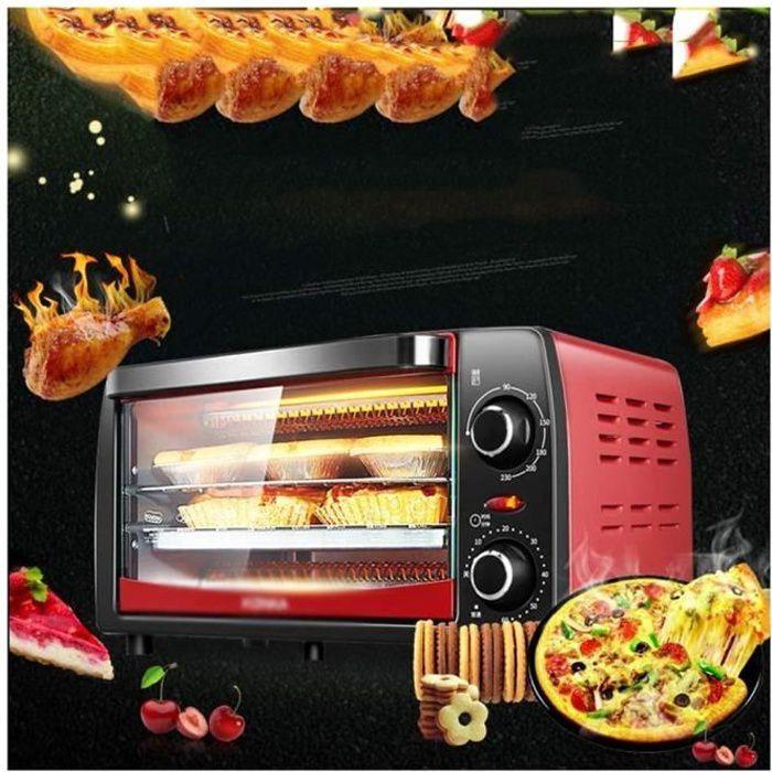 Four mini-rouge avec four électrique à grill avec double plaque chauffante et cuisinière avec plusieurs fonctions préréglées 12L