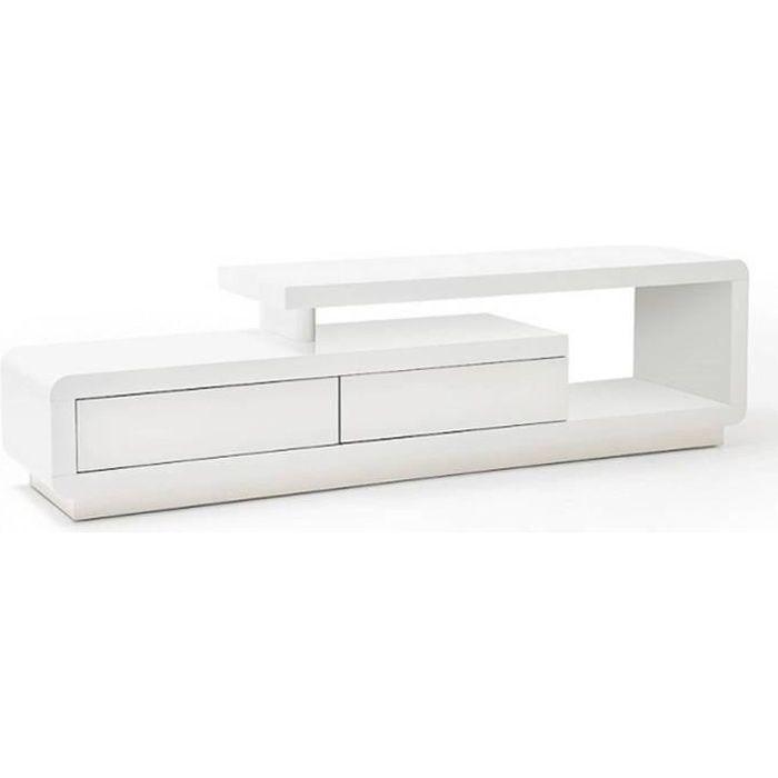 Meuble TV design CORTO 2 tiroirs finition laquée blanc brillant blanc Bois Inside75
