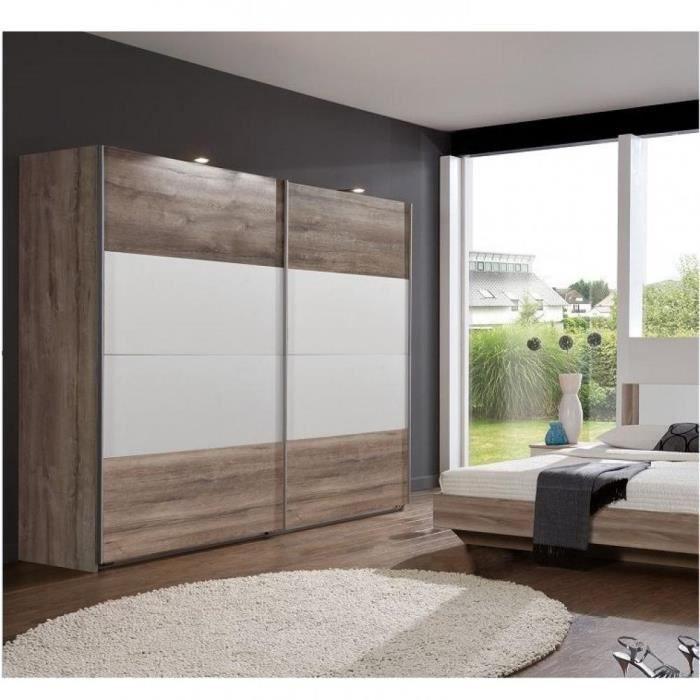 Armoire EVA portes coulissantes largeur 225 cm chêne châtaigne / blanc marron Bois Inside75