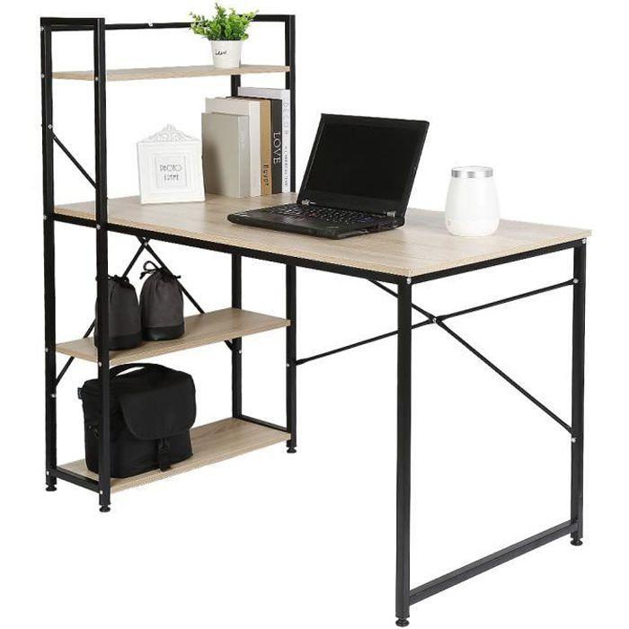 JEOBEST® Design Table de bureau en bois et acier, Noir et chêne clair, 120 x 64 x 120 cm