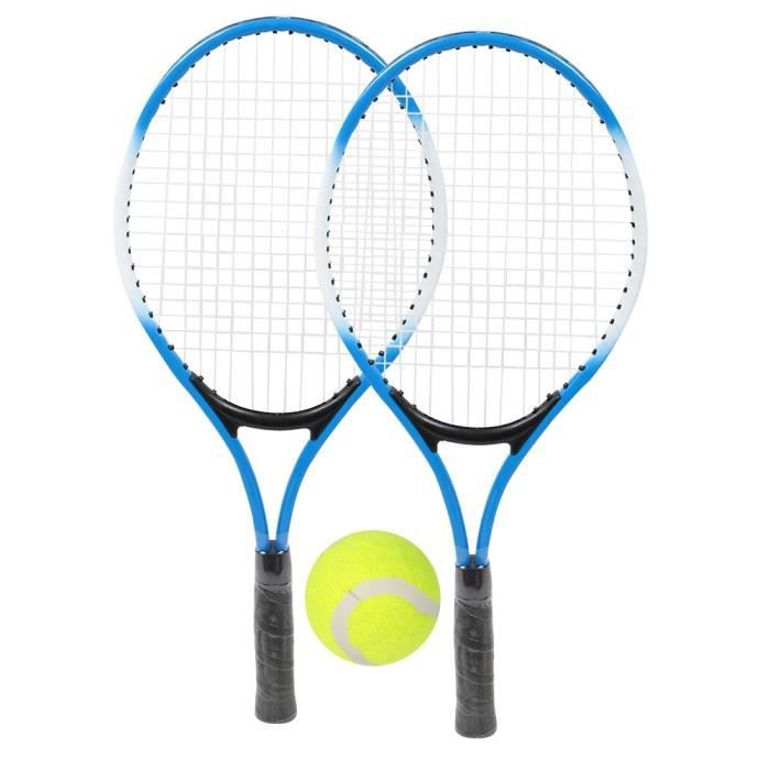 Raquette de tennis pour enfants en alliage de fer - Raquette d'entraînement pour débutants avec balle et sac de transport (bleu)-DUO