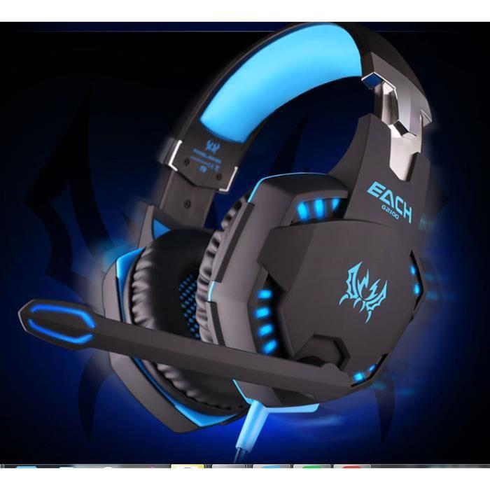 Each G2100 professionnel 3.5mm Led Pc Gaming Noise Vibration Isolation basse stéréo casque avec un volume Hifi pilote pour Pc Gamer