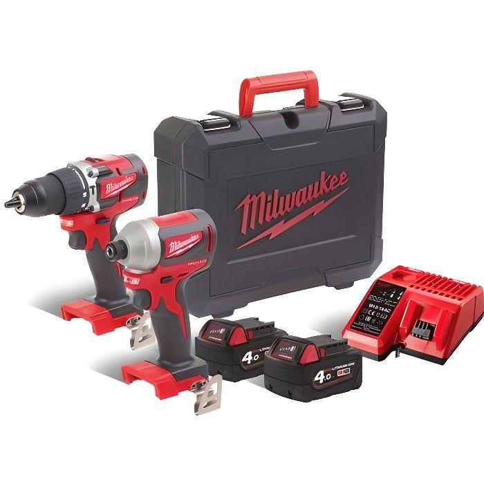 Milwaukee - Pack 2 outils COMPACT BRUSHLESS perceuse à percussion + visseuse à chocs 18 V Li-Ion 4.0 Ah - M18 CBLPP2A-402C