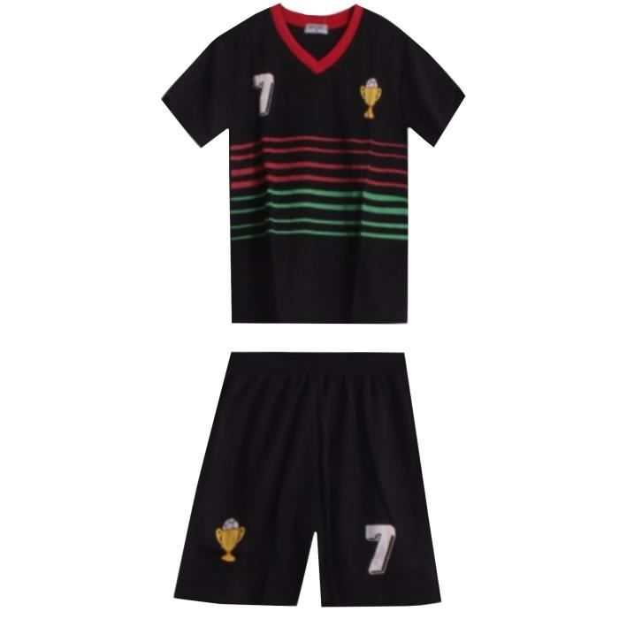 Ensemble De Vetements De Football - Tenue De Football - NPZ - Ensemble short et maillot de foot ¨Portugal enfant noir Taille de 2 à